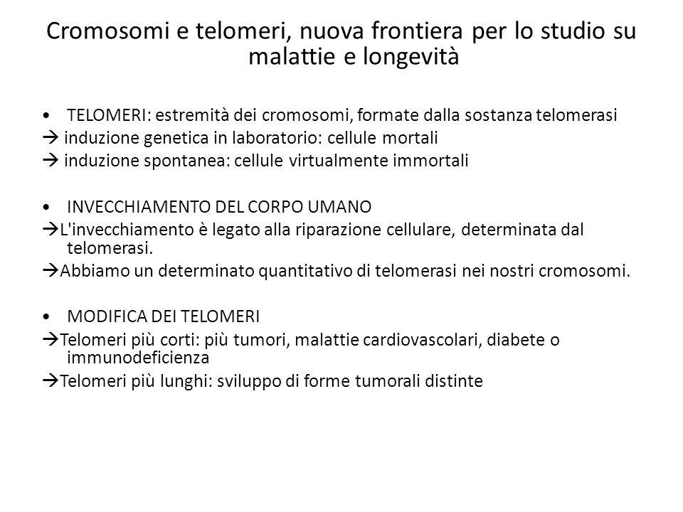 Cromosomi e telomeri, nuova frontiera per lo studio su malattie e longevità