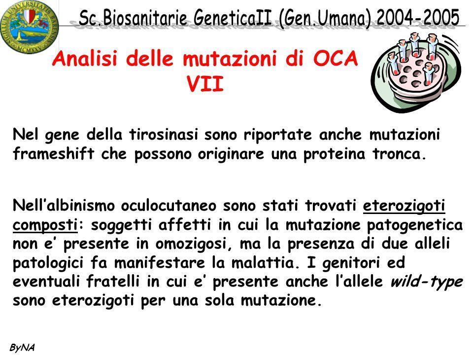 Analisi delle mutazioni di OCA VII