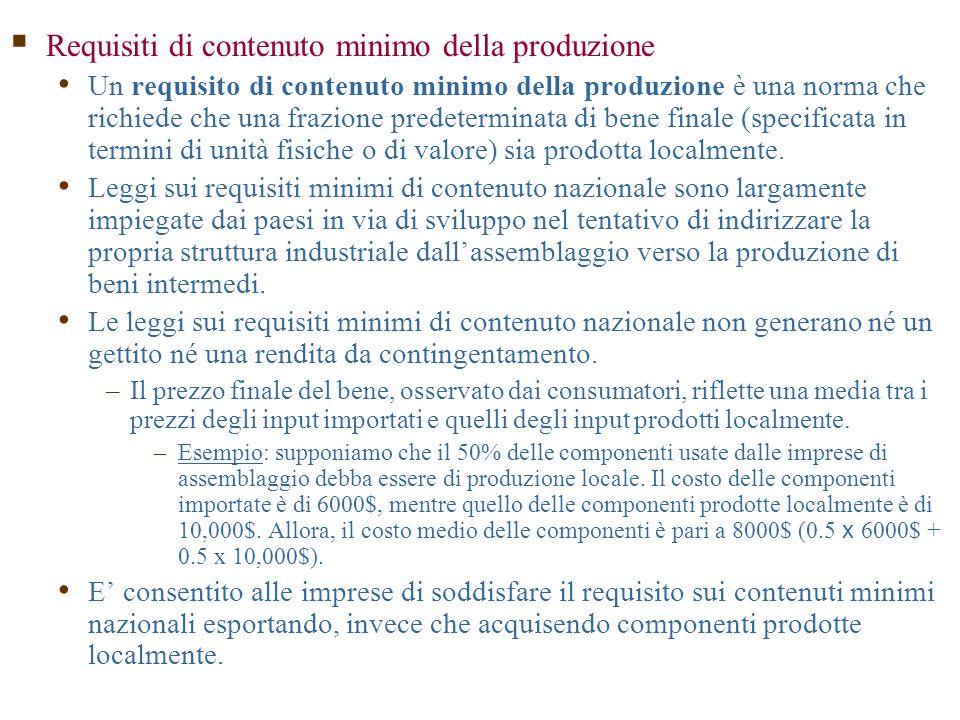 Requisiti di contenuto minimo della produzione