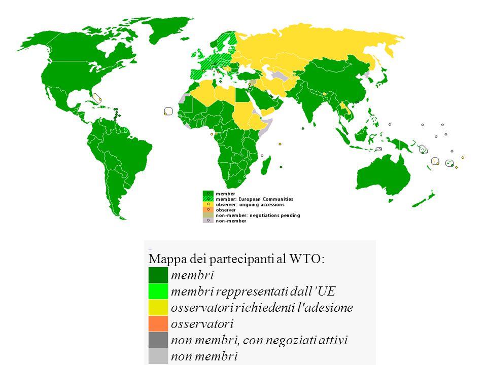 Mappa dei partecipanti al WTO: ██ membri