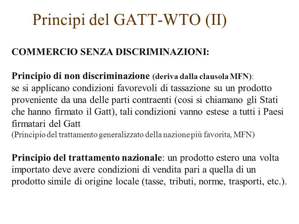 Principi del GATT-WTO (II)