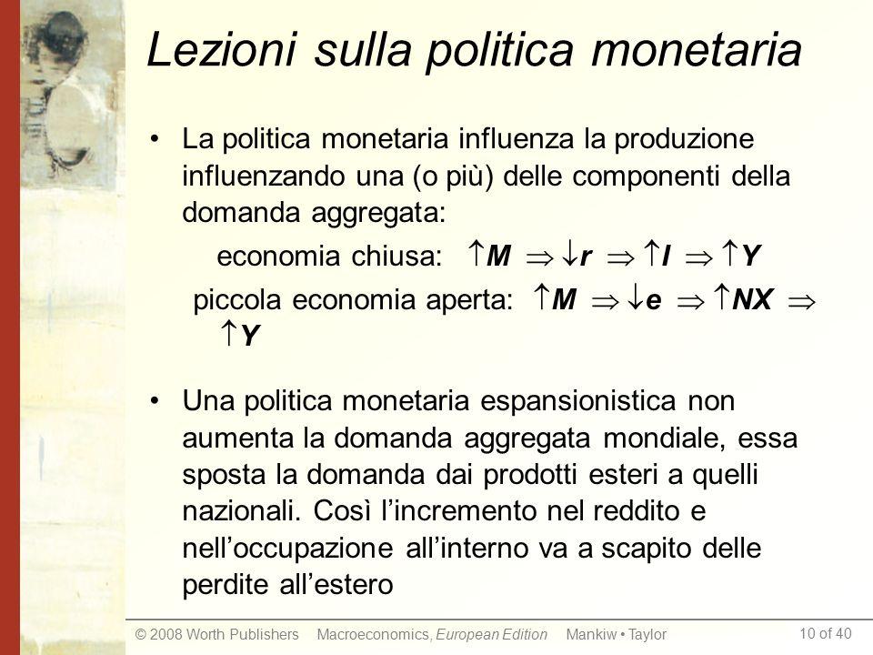 Lezioni sulla politica monetaria