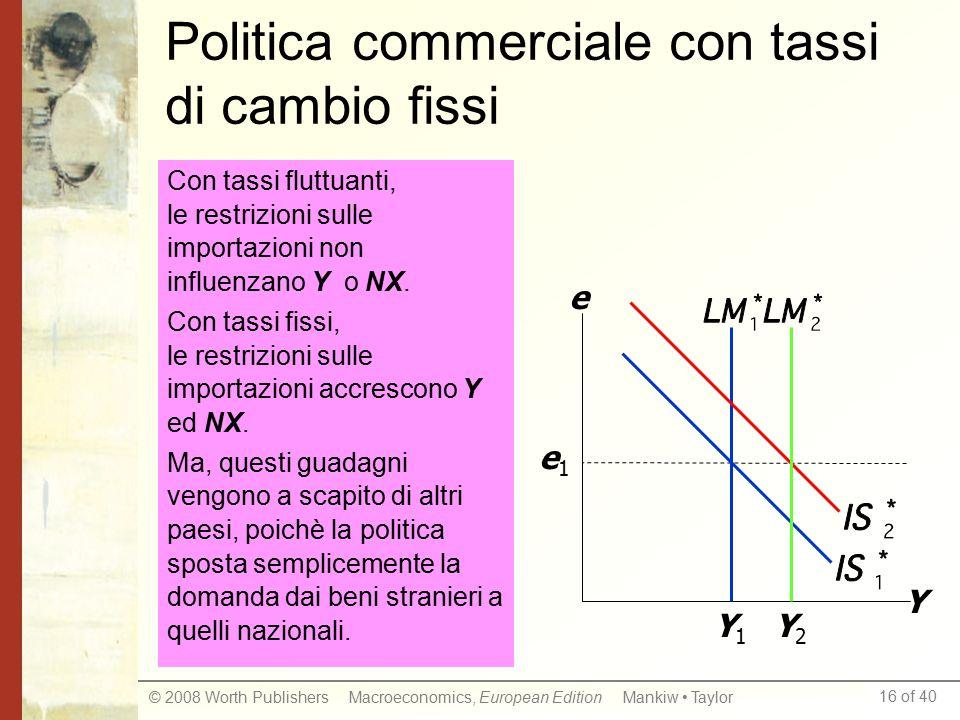 Politica commerciale con tassi di cambio fissi