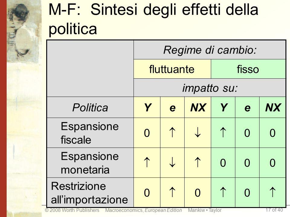 M-F: Sintesi degli effetti della politica