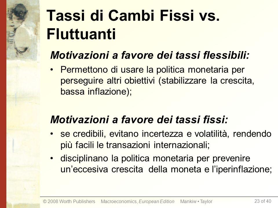 Tassi di Cambi Fissi vs. Fluttuanti