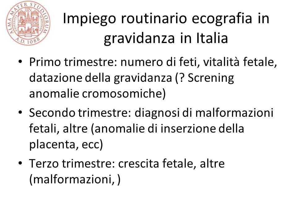 Impiego routinario ecografia in gravidanza in Italia
