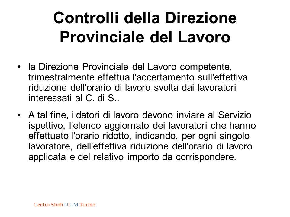 Controlli della Direzione Provinciale del Lavoro