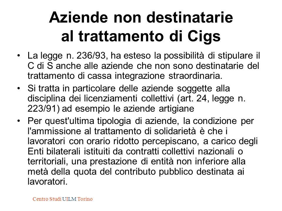Aziende non destinatarie al trattamento di Cigs