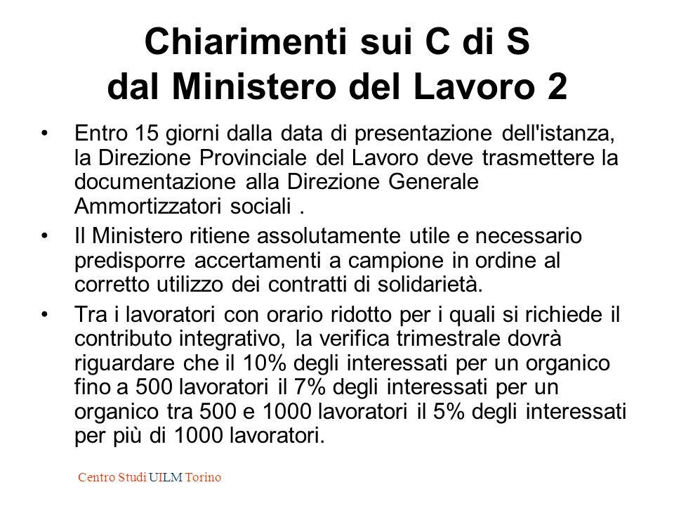 Chiarimenti sui C di S dal Ministero del Lavoro 2