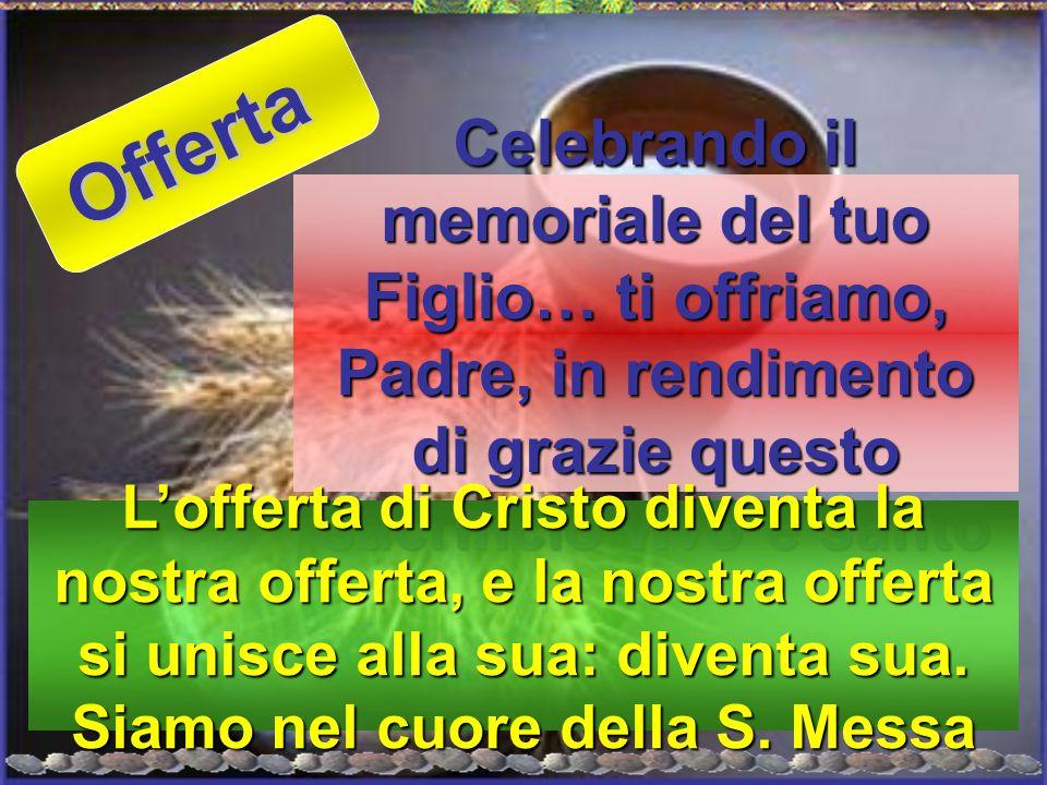 Offerta Celebrando il memoriale del tuo Figlio… ti offriamo, Padre, in rendimento di grazie questo sacrificio vivo e santo.