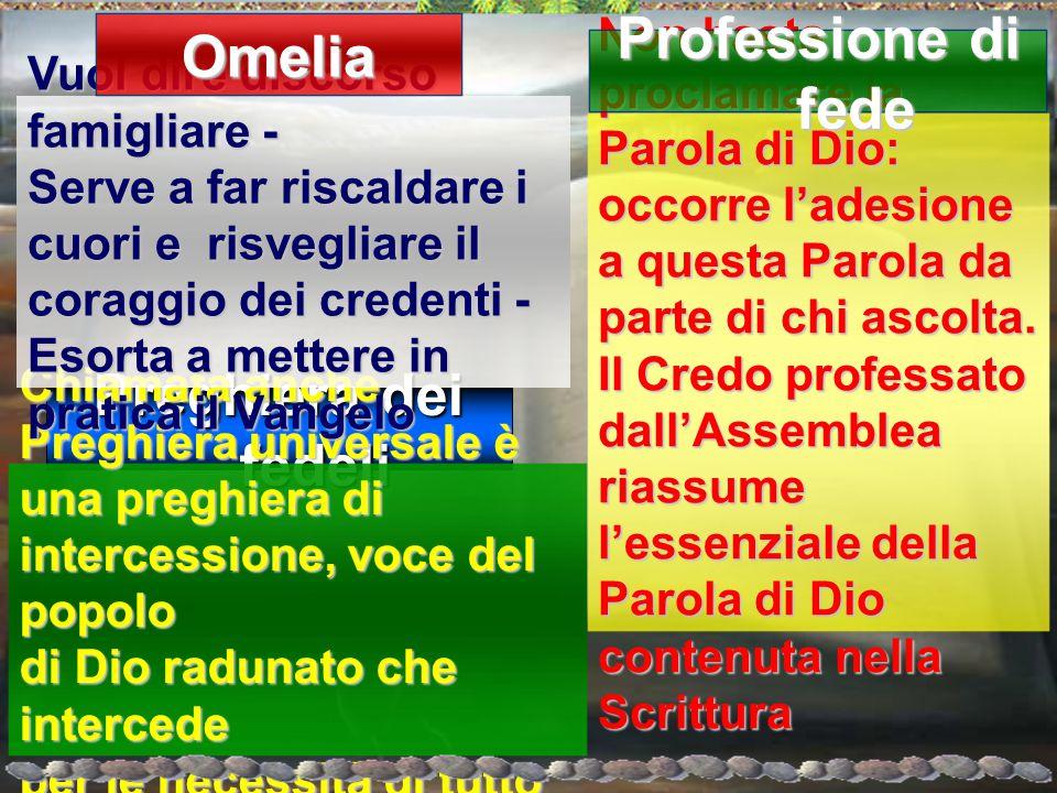 Omelia Professione di fede Preghiera dei fedeli