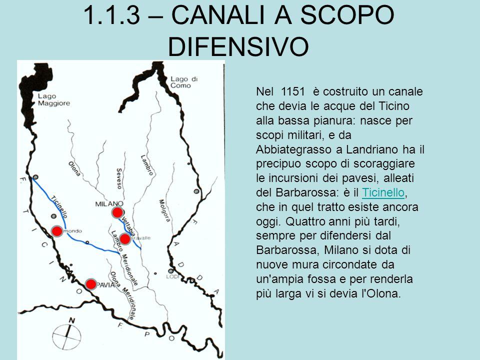 1.1.3 – CANALI A SCOPO DIFENSIVO