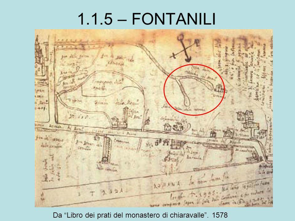 1.1.5 – FONTANILI Da Libro dei prati del monastero di chiaravalle . 1578