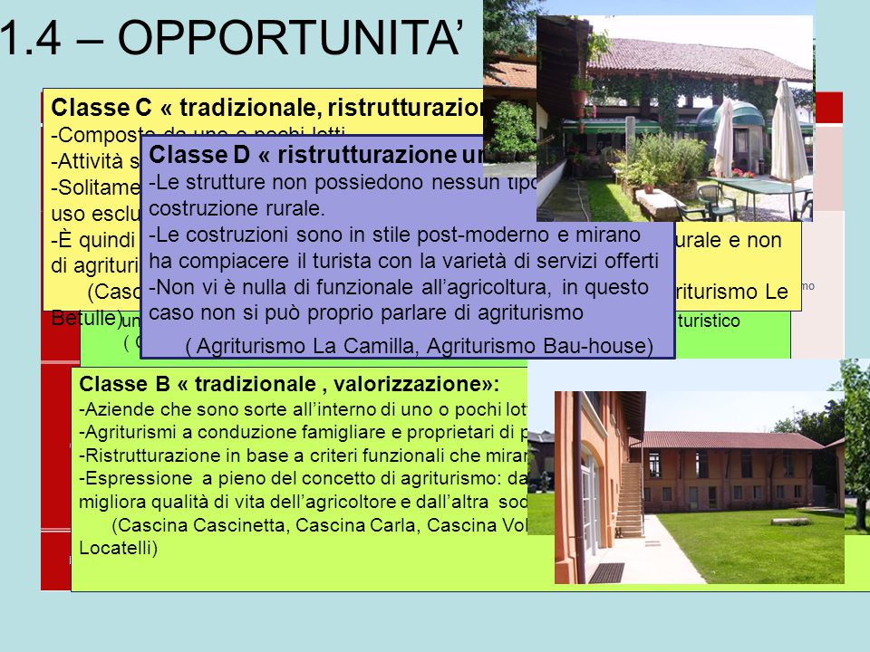 1.4 – OPPORTUNITA' Classe C « tradizionale, ristrutturazione»:
