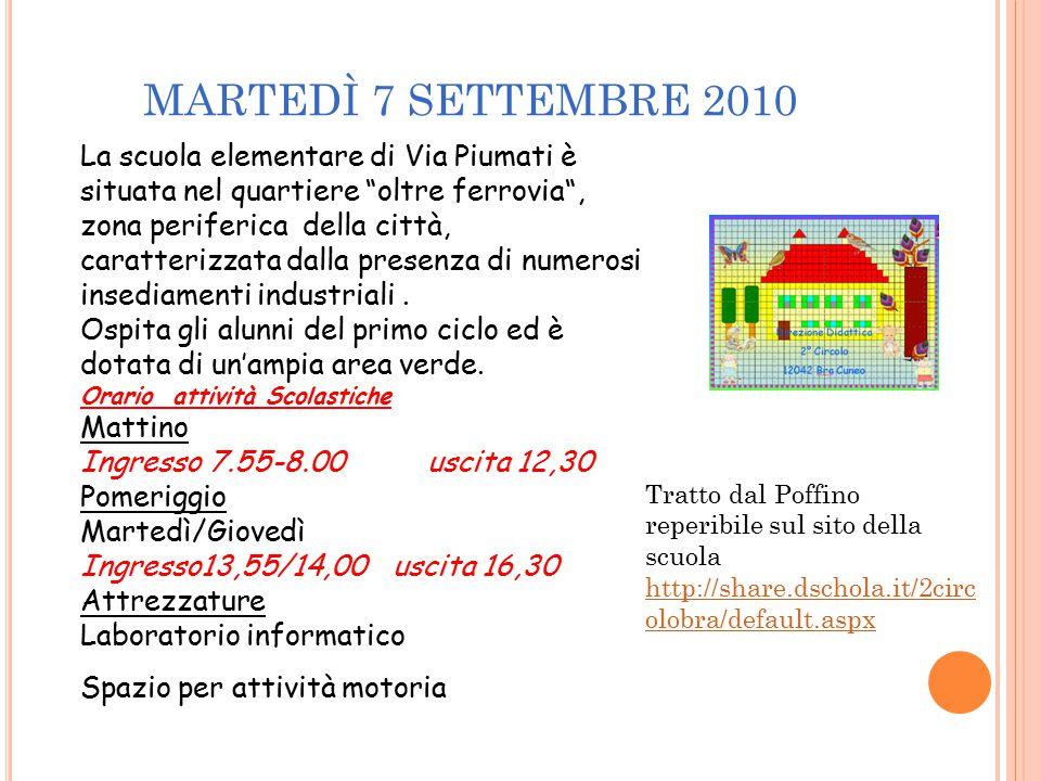 MARTEDÌ 7 SETTEMBRE 2010