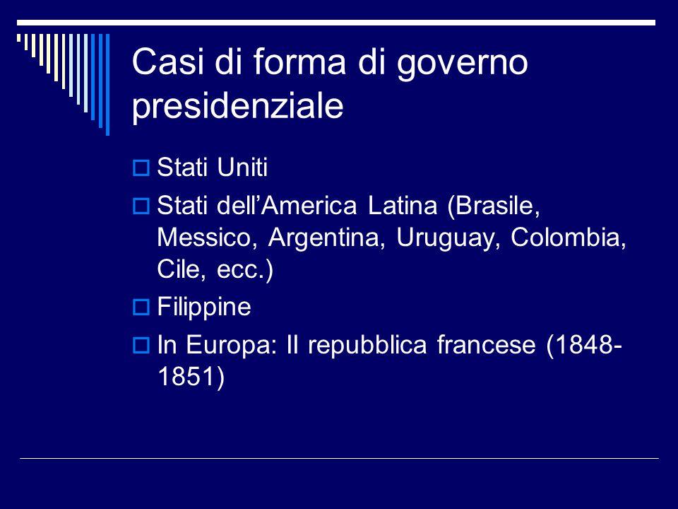 Casi di forma di governo presidenziale