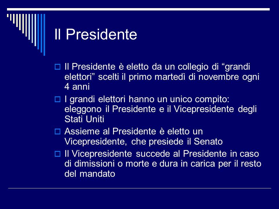 Il Presidente Il Presidente è eletto da un collegio di grandi elettori scelti il primo martedì di novembre ogni 4 anni.