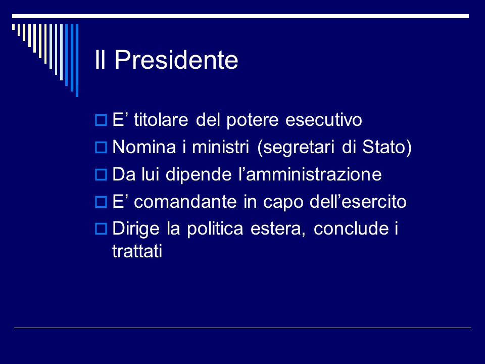Il Presidente E' titolare del potere esecutivo