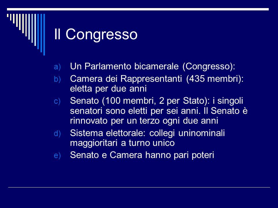 Il Congresso Un Parlamento bicamerale (Congresso):