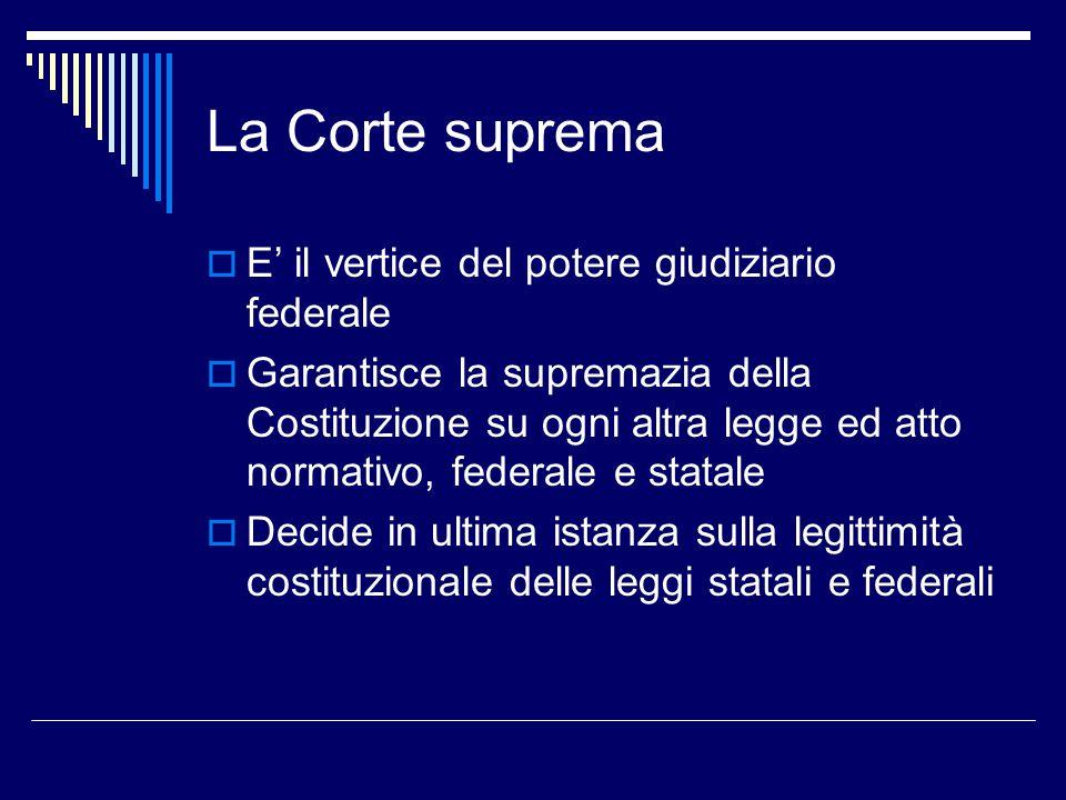 La Corte suprema E' il vertice del potere giudiziario federale