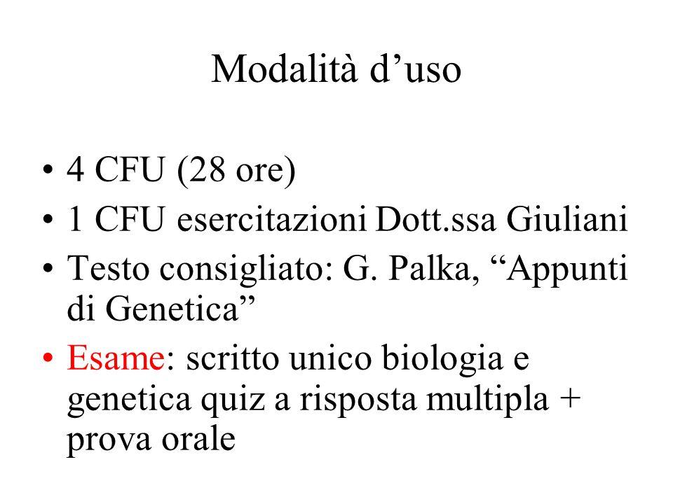 Modalità d'uso 4 CFU (28 ore) 1 CFU esercitazioni Dott.ssa Giuliani