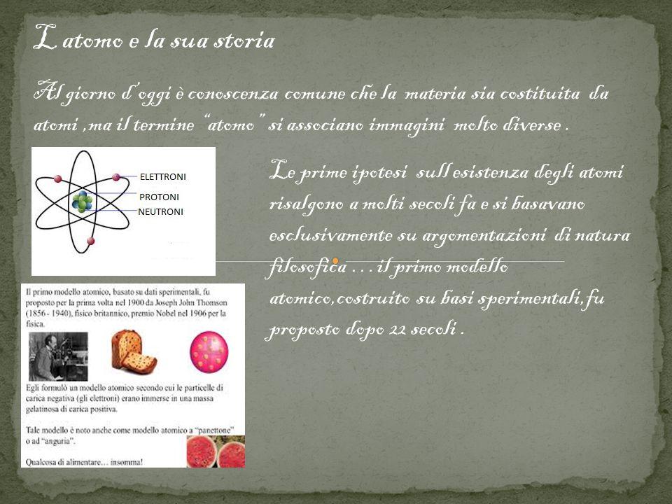L atomo e la sua storia