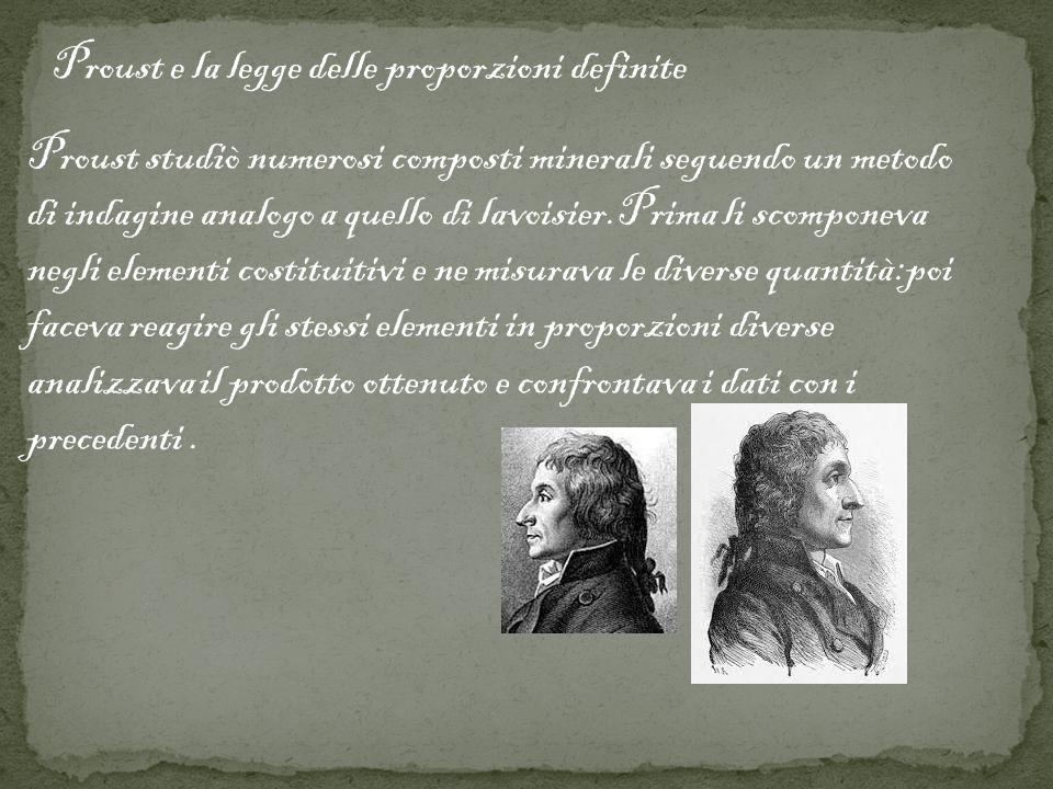 Proust e la legge delle proporzioni definite
