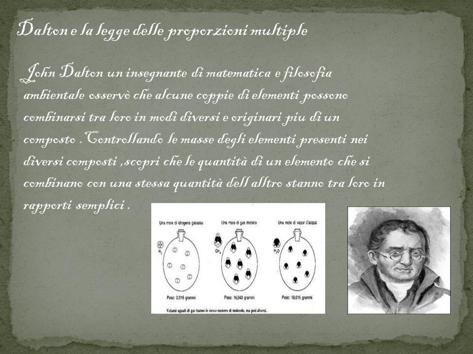 Dalton e la legge delle proporzioni multiple