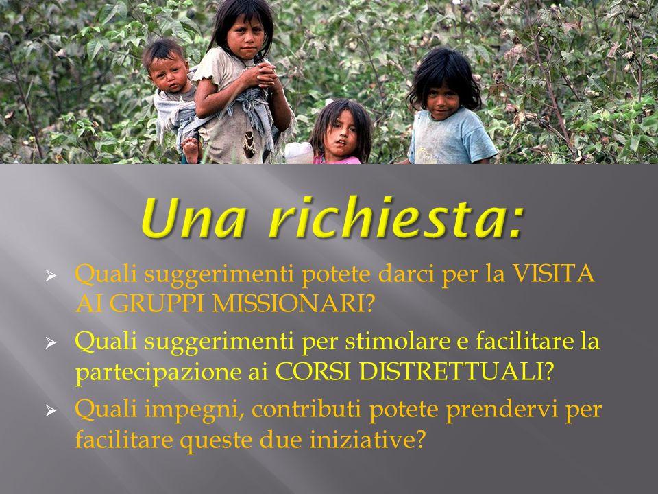 Una richiesta: Quali suggerimenti potete darci per la VISITA AI GRUPPI MISSIONARI