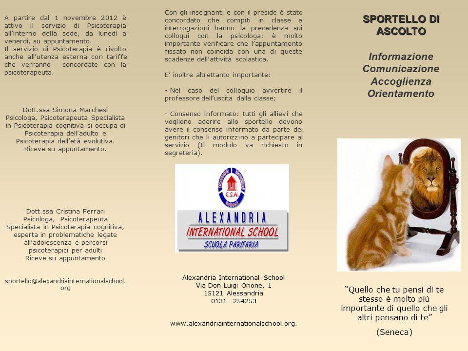 A partire dal 1 novembre 2012 è attivo il servizio di Psicoterapia all'interno della sede, da lunedì a venerdì, su appuntamento.