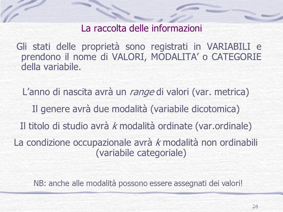 La raccolta delle informazioni