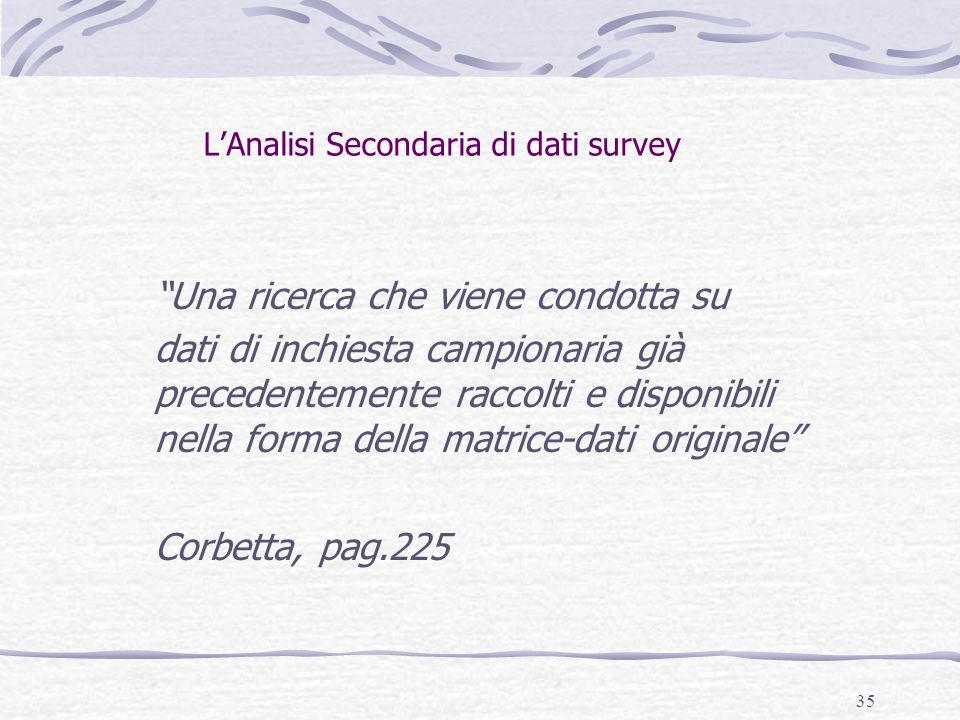 L'Analisi Secondaria di dati survey