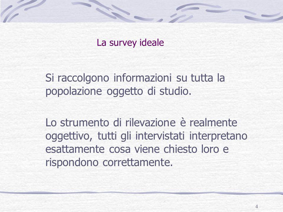 La survey ideale Si raccolgono informazioni su tutta la popolazione oggetto di studio.