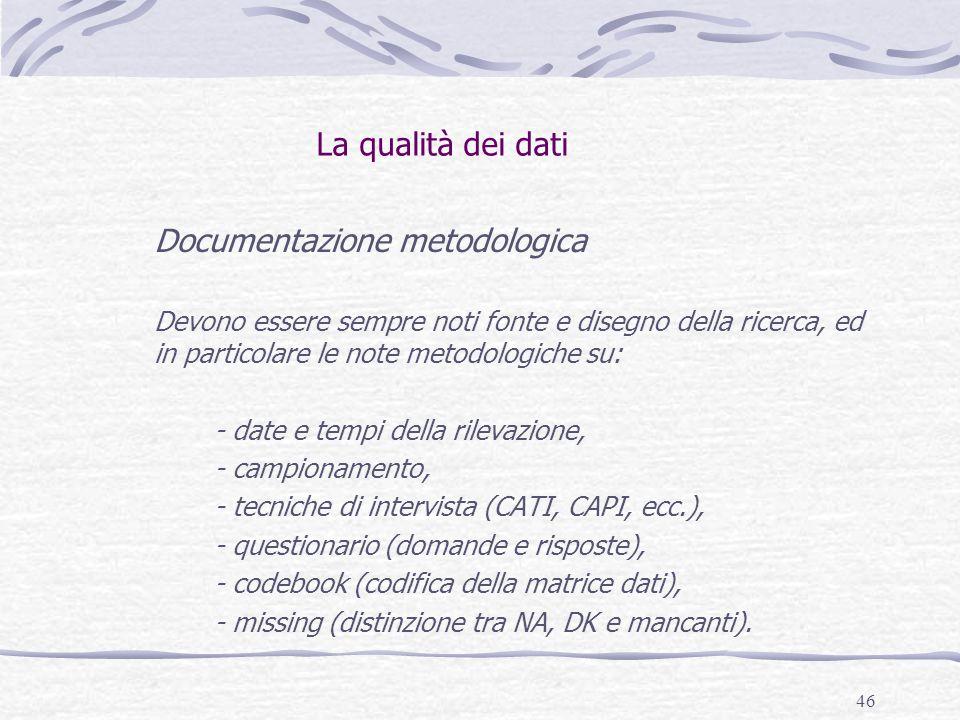 Documentazione metodologica