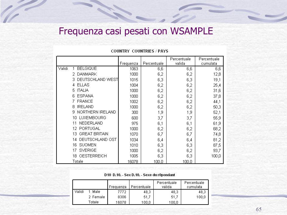 Frequenza casi pesati con WSAMPLE
