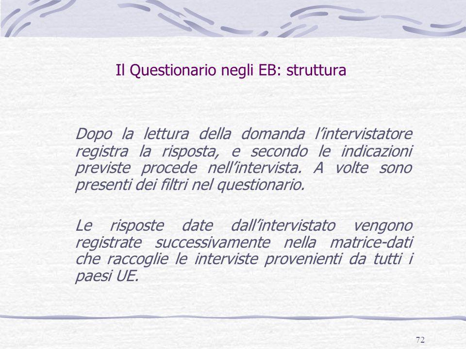 Il Questionario negli EB: struttura