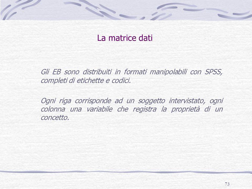 La matrice dati Gli EB sono distribuiti in formati manipolabili con SPSS, completi di etichette e codici.