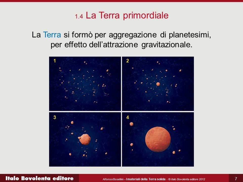 1.4 La Terra primordiale La Terra si formò per aggregazione di planetesimi, per effetto dell'attrazione gravitazionale.