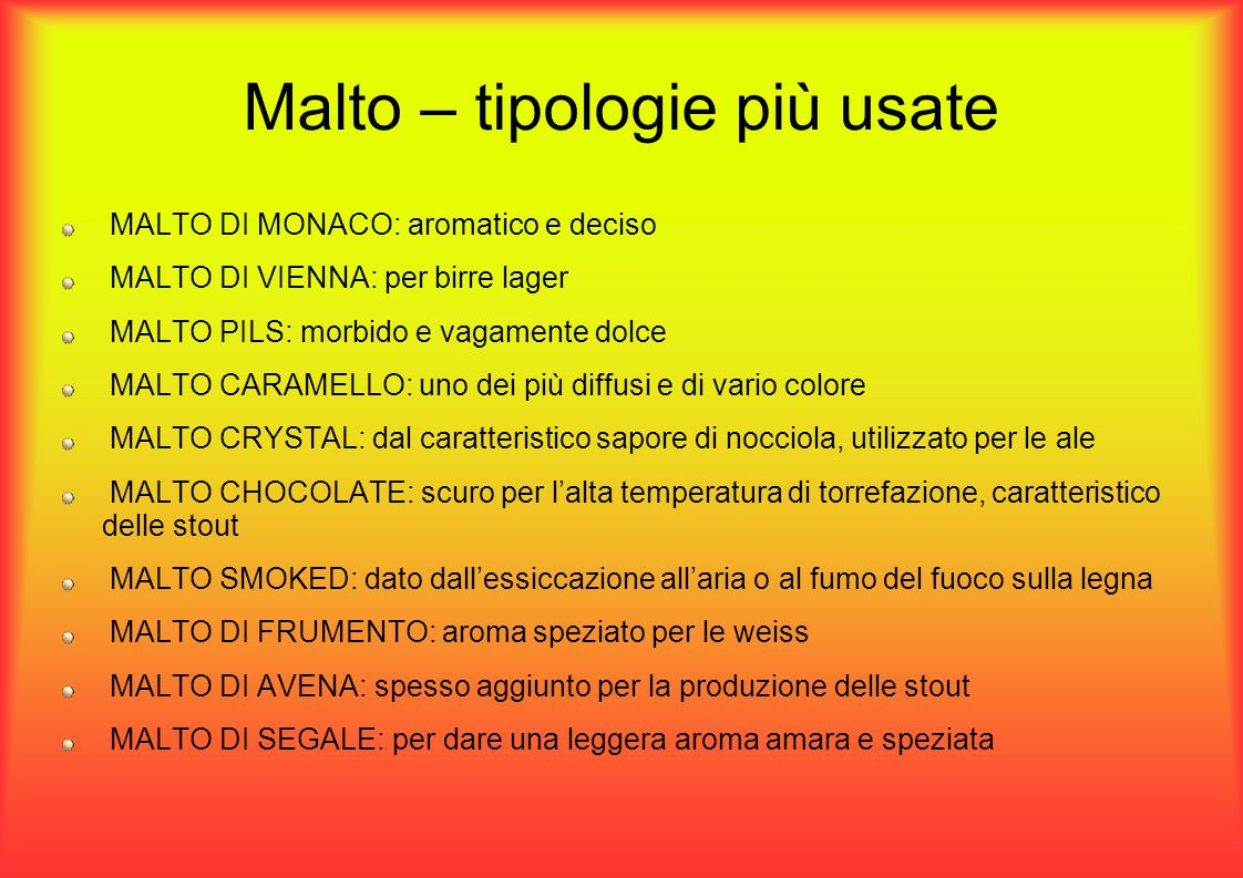 Malto – tipologie più usate