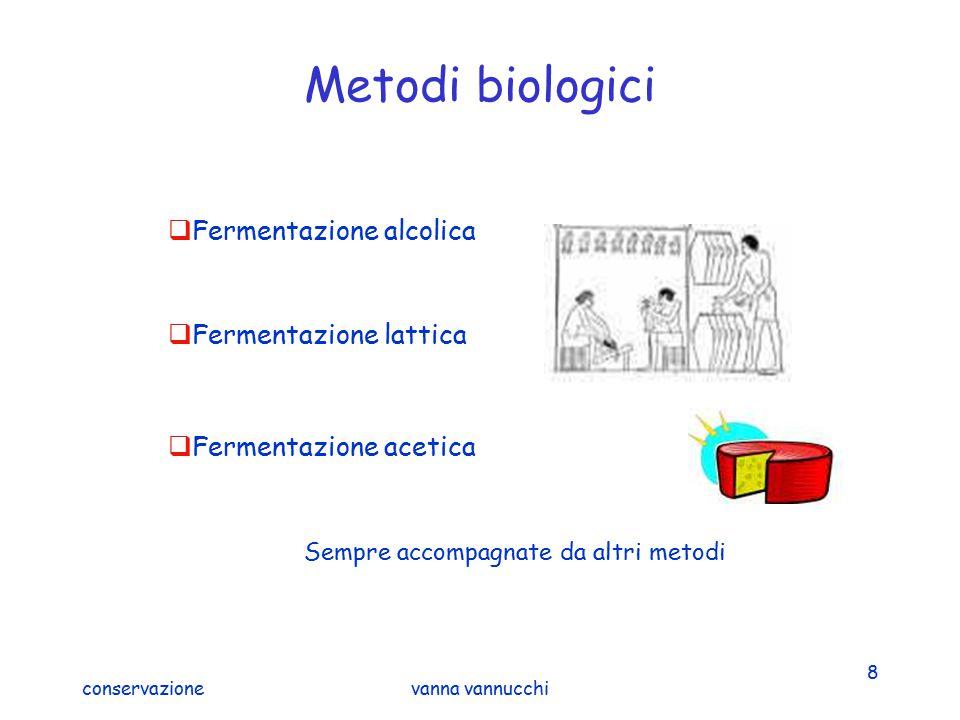 Metodi biologici Fermentazione alcolica Fermentazione lattica