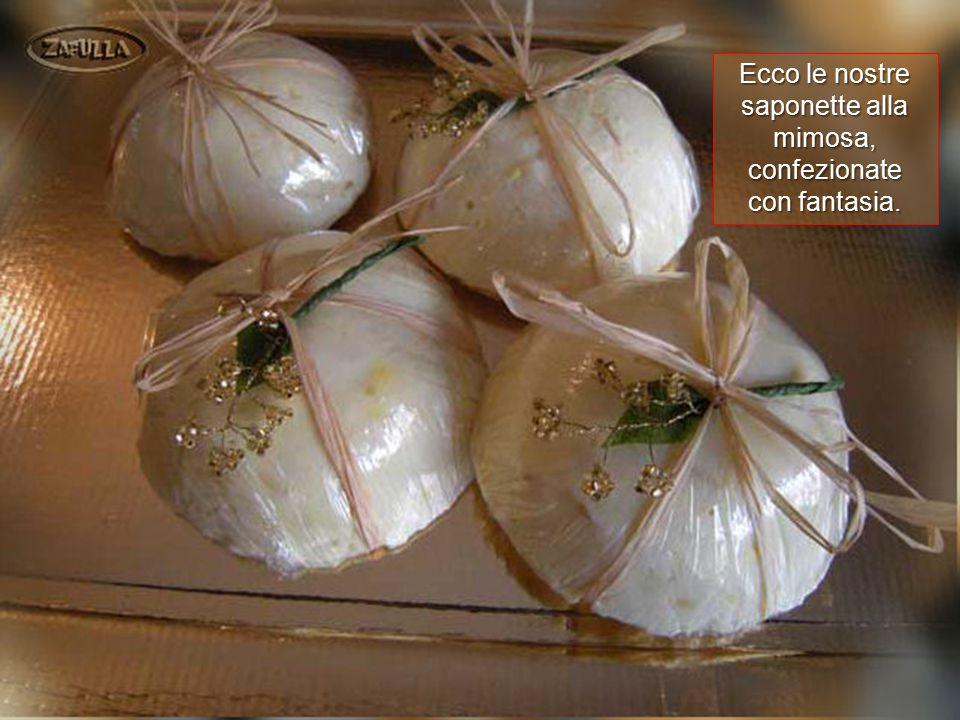 Ecco le nostre saponette alla mimosa, confezionate