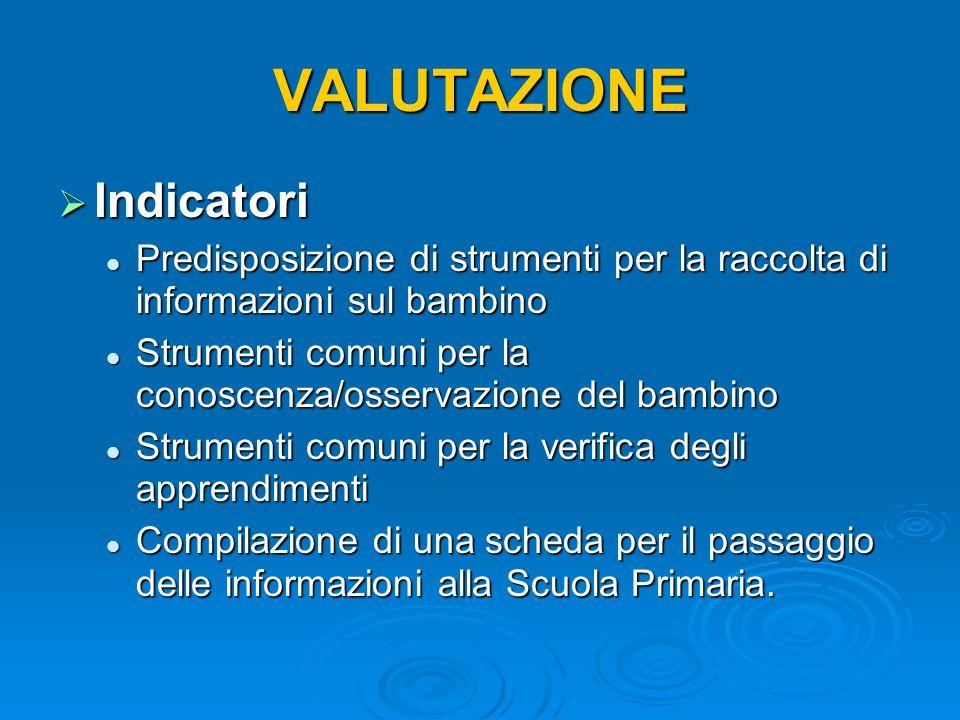 VALUTAZIONE Indicatori