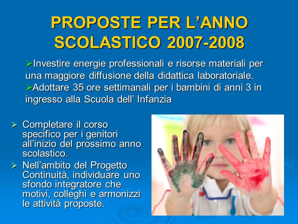 PROPOSTE PER L'ANNO SCOLASTICO 2007-2008