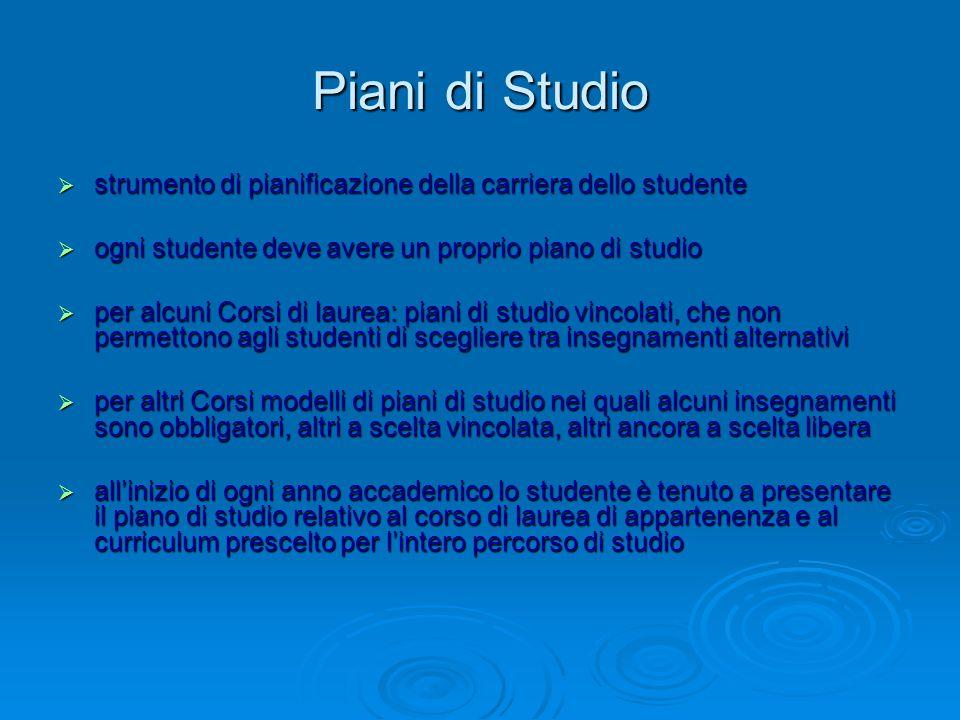 Piani di Studio strumento di pianificazione della carriera dello studente. ogni studente deve avere un proprio piano di studio.
