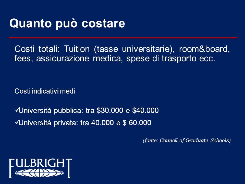 Quanto può costare Costi totali: Tuition (tasse universitarie), room&board, fees, assicurazione medica, spese di trasporto ecc.