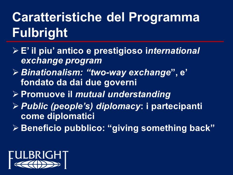 Caratteristiche del Programma Fulbright
