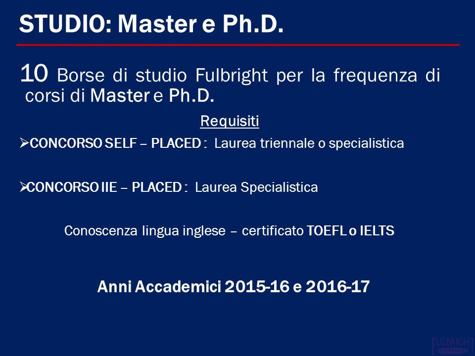 Conoscenza lingua inglese – certificato TOEFL o IELTS