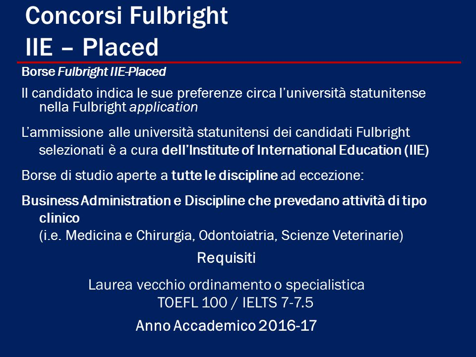 Concorsi Fulbright IIE – Placed