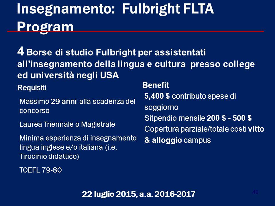Insegnamento: Fulbright FLTA Program