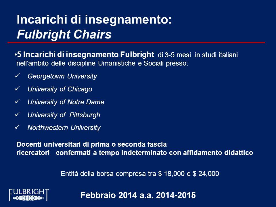 Incarichi di insegnamento: Fulbright Chairs